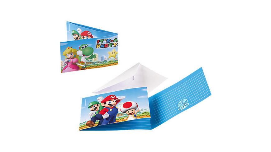 Einladungskarten Super Mario, 8 Stück inkl. Umschläge