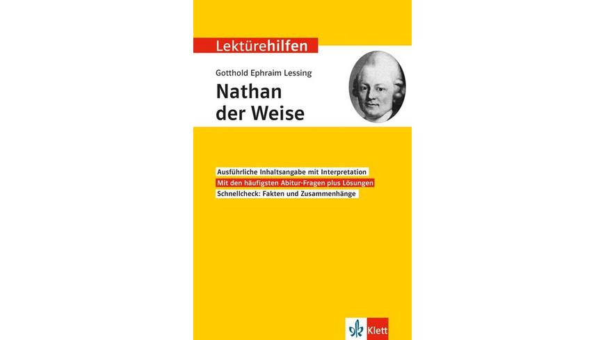 Lektürehilfen Gotthold Ephraim Lessing 'Nathan der Weise'