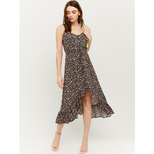 Midi Kleid mit Rüschen und Knöpfen