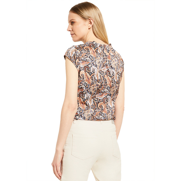 Blusenshirt aus schimmerndem Satin - High-Neck-Bluse