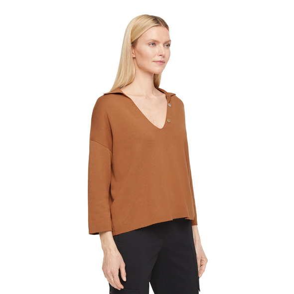 Pullover mit Perlmuttknopf - Doubleface-Pullover