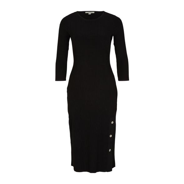 Geripptes Midikleid mit Zierknöpfen - Strick-Kleid