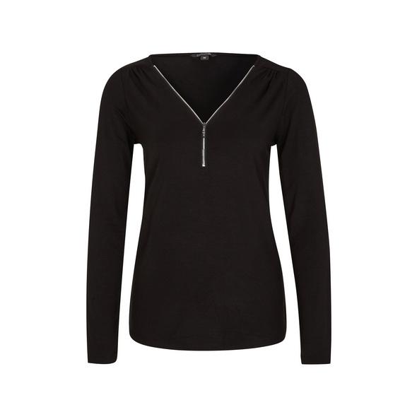Shirt mit Reißverschluss-Detail - Viskoseshirt