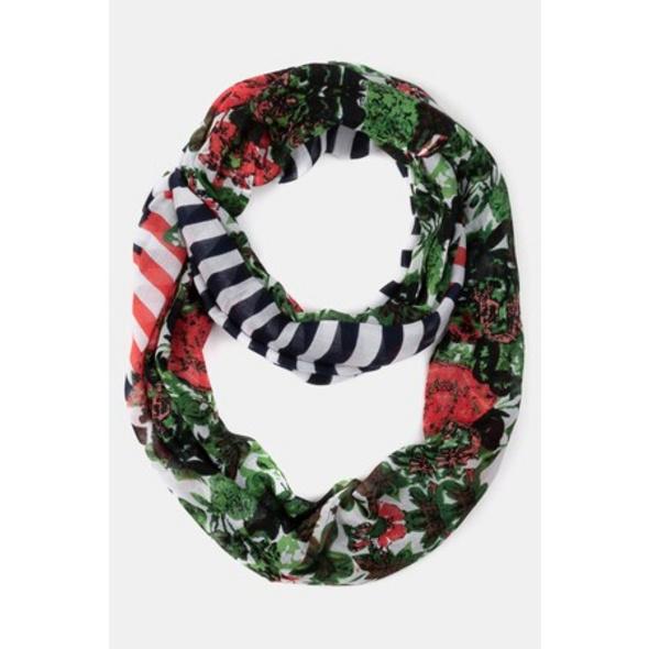 Loop, maritime Streifen, Blütenmuster