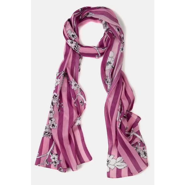 Schal, Streifen, Kirschblüten-Muster, Crashlook