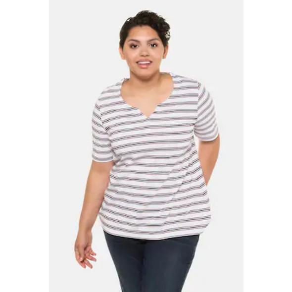 Ulla Popken T-Shirt, Streifen, A-Linie, Pima-Baumwolle - Große Größen