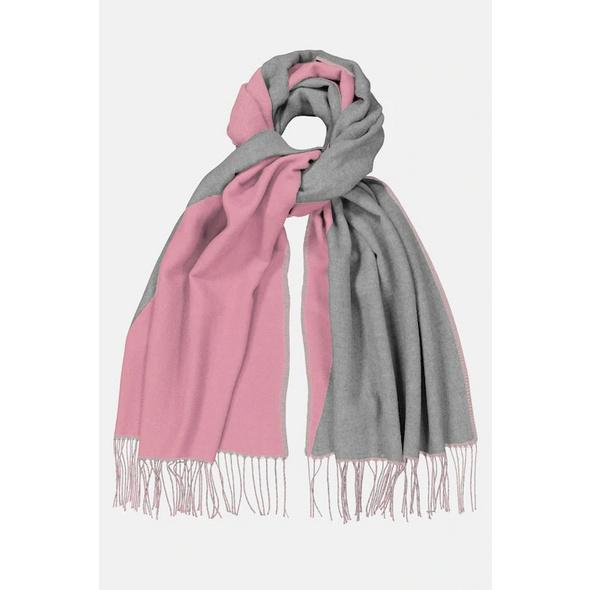 Schal, zweifarbig, Fransen