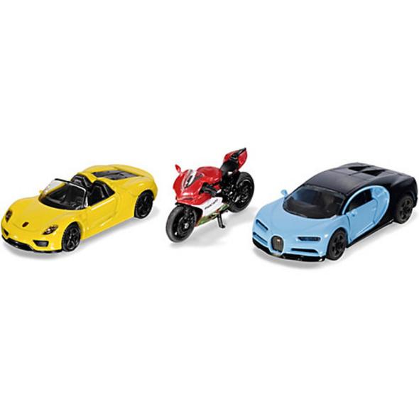 Sportwagen und Motorrad