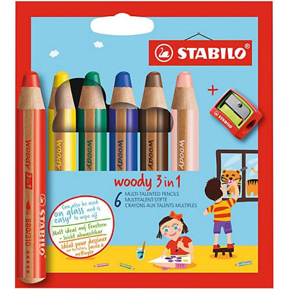 Buntstifte woody 3 in 1, inkl. Spitzer, 6 Farben