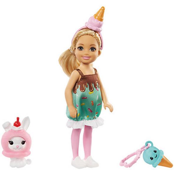Barbie Chelsea Puppe (blond) im Eiscreme-Kostüm mit Häschen, Anziehpuppe