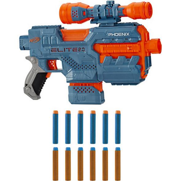 Nerf Elite 2.0 Phoenix CS-6 motorisierter Blaster, 12 Nerf Darts, 6-Dart Clip-Magazin, Fernrohr, Tactical Rails, Befestigungspunkte