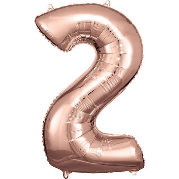 Super Shape Folienballon Rosé Gold, Zahlenballon 2 , 50 x 88 cm