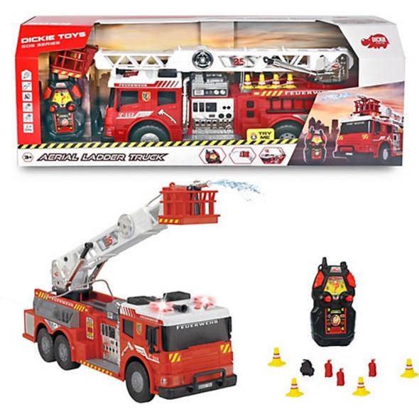 RC Aerial Ladder Truck - Feuerlöschzug mit Wasserspritzfunktion + Sound, 2,4 GHz