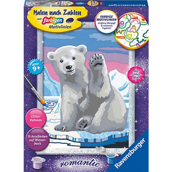 Malen nach Zahlen , 18x24 cm, mit farbigen Motivlinien, Hallo, kleiner Eisbär!