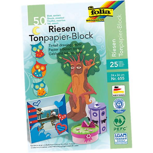 Tonpapier Riesenblock 24 x 34 cm, 25 Farben, 50 Blatt