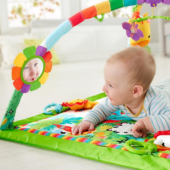 Fisher-Price Rainforest Erlebnisdecke, Krabbeldecke mit Spielbogen, Babydecke