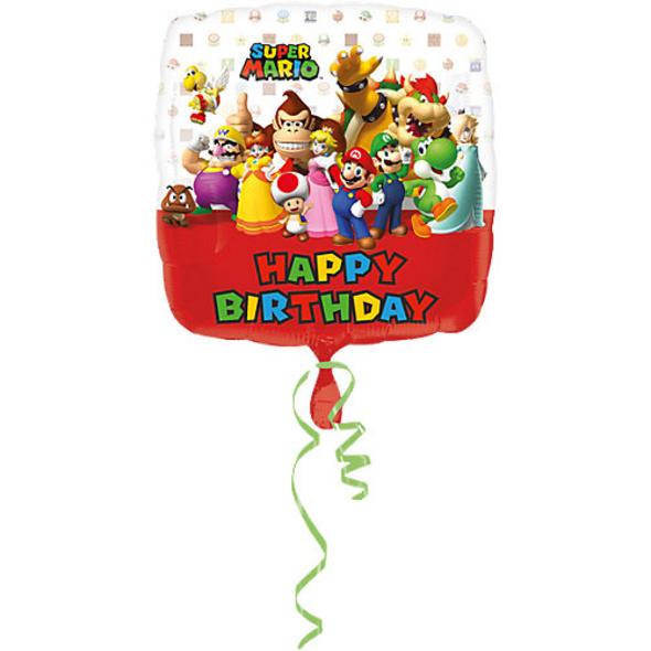 Folienballon Mario Bros Happy Birthday, viereckig