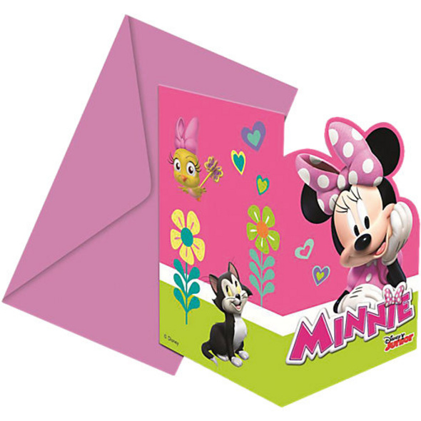 Einladungskarten mit Umschlägen Minnie Happy Helpers, 6 Stück