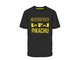 Pokémon - T-Shirt Detektiv Pikachu schwarz (Größe L)