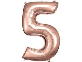 Super Shape Folienballon Rosé Gold, Zahlenballon 5, 58 x 86 cm