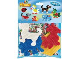 HAMA 4416 Gruppenpackung mit 3.000 midi-Perlen &  4 farbigen Stiftplatten (Tiere)