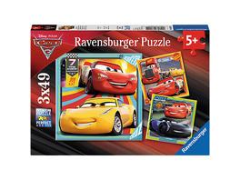 3er Set Puzzle, je 49 Teile, 21x21 cm, Disney Cars 3 Bunte Flitzer