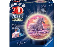 2in1 Nachtlich & puzzleball® Ø13 cm, 72 Teile , Pferde am Strand