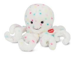 Teddy Hermann 93927 - Oktopus Confetti, Kuscheltier, Plüschtier, 30cm, weiß