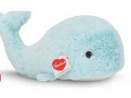Teddy Hermann 93928 - Walfisch Shrimpy, Plüschtier, Kuscheltier, 30 cm, eisblau