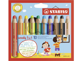 STABILO 880/10 - Buntstift, Wasserfarbe & Wachsmalkreide - STABILO woody 3 in 1 - 10er Pack